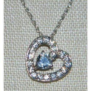 .925 Sterling Silver CZ Clear Rhinestone Heart